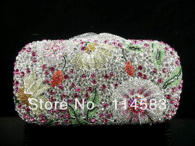 ФОТО 8122 - Tb Multi-color Floral Flower Crystal Hollow Bridal Party Night hollow Metal Evening purse clutch bag case handbag