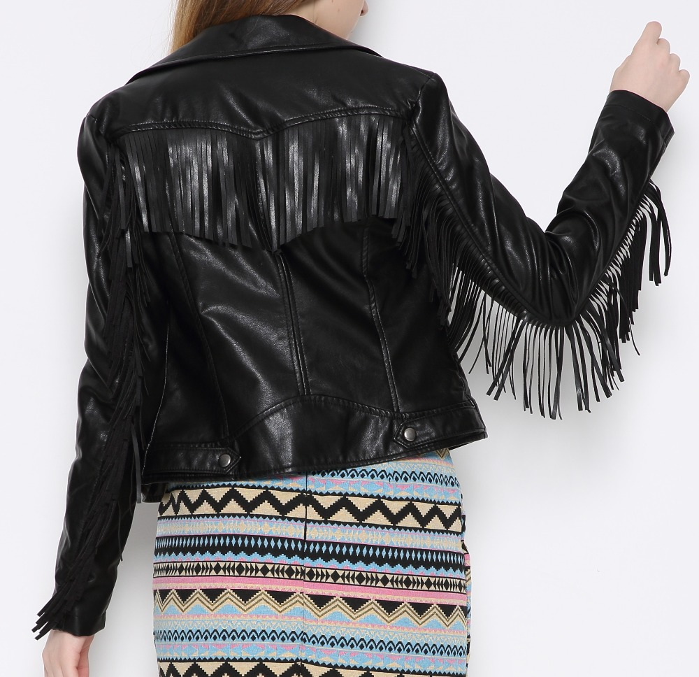 2018 S-XL New Spring Fashion Good Quality Girl Ladies Basic Street Tassel X002 Women Short PU Leather Jacket