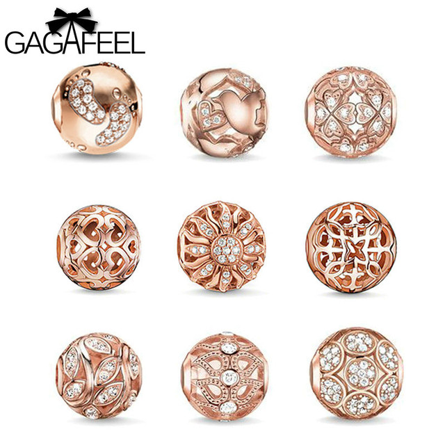 GAGAFEEL Big Hole Beads Womens Rose Gold Jewelry DIY White Austrian