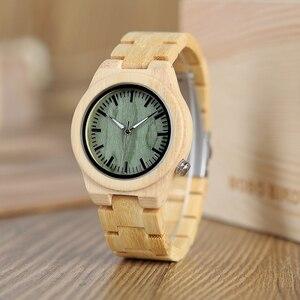 Image 2 - BOBO BIRD lovers drewniany zegarek całkowicie bambusowy zielony zegarek kwarcowy dla par w bambusowe pudełko na prezent