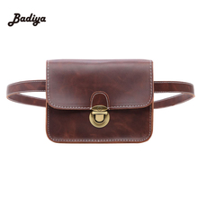 Ladies Casual Waist Bags PU Leather Soft Flap Bag For Woman Thread Black Money Wallet Phone Bag Vintage Lock Fanny Bolso