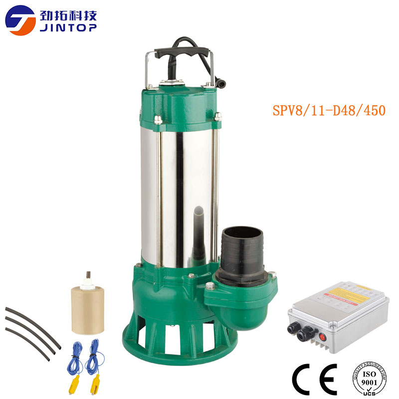 (MODEL SPV8/11-D48/450) JINTOP SOLAR PUMP Flow 8T/H solar powered panel sewage submersible pumps with free motor MPPT controller stainless steel sewage export to 56 countries 100m3 h electric submersible sewage pump