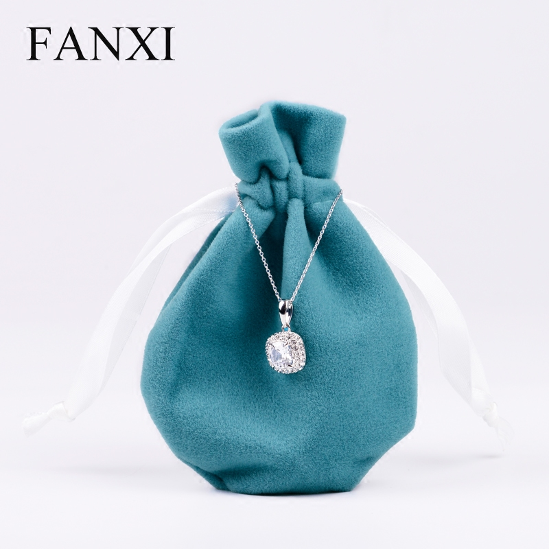 FANXI  Blue/Black/White String Plush Velvet Jewellry Bags Jewelry Pouch Gift Pouch Velvet Gift Bags String Jewelry Bags