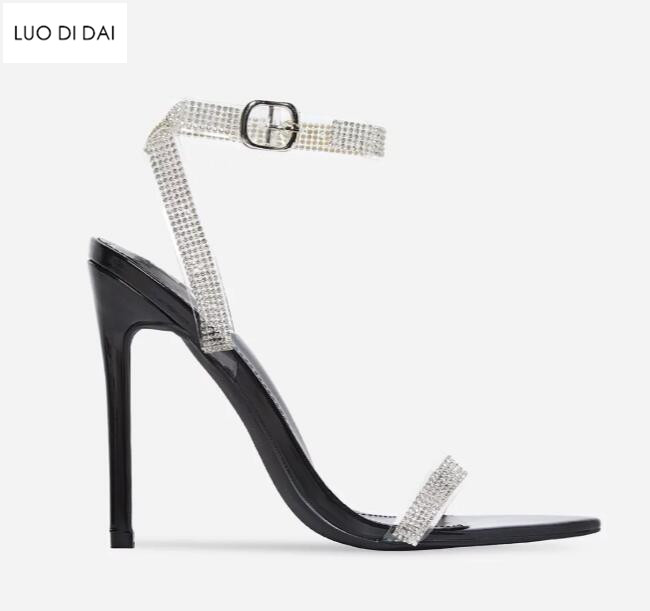 zehe sommer abend punkt heels 2019 sandalen promi diamant neue kristall schwarzgold frauen glitter schuhe flansch hochzeit high ukPXZi