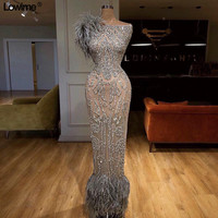 Sexy Saudi Arabia Mother of the Bride Dresses Mermaid Wedding Party Dress With Feathers Cap Sleeve Mother Dresses For Wedding