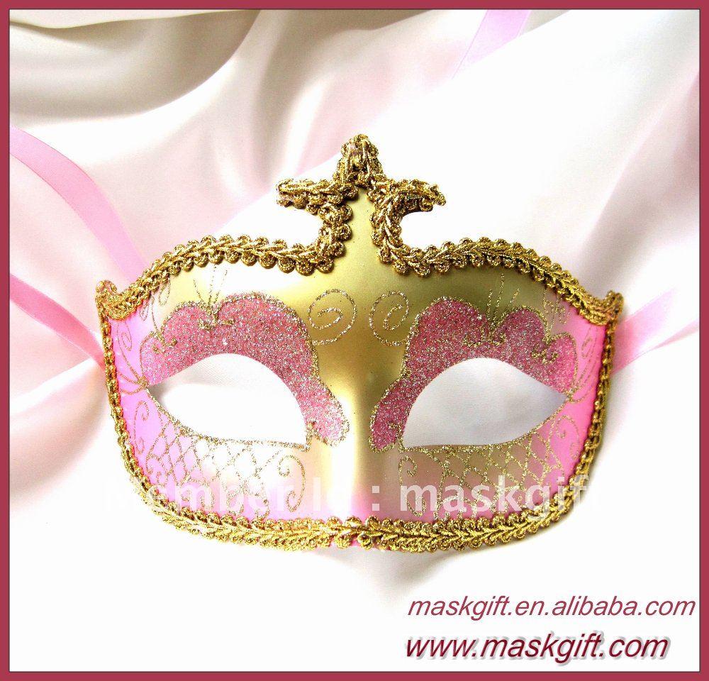Горячая деталь розовая и Золотая Венецианская стильная пластиковая маска, Вечерние Маски
