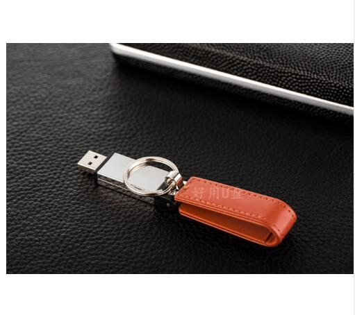 High grade holster 3 colors Leather key chain U Disk pen drive 4GB 8GB 16GB 32GB 64G 128G usb flash drive memory stick pen drive in USB Flash Drives from Computer Office