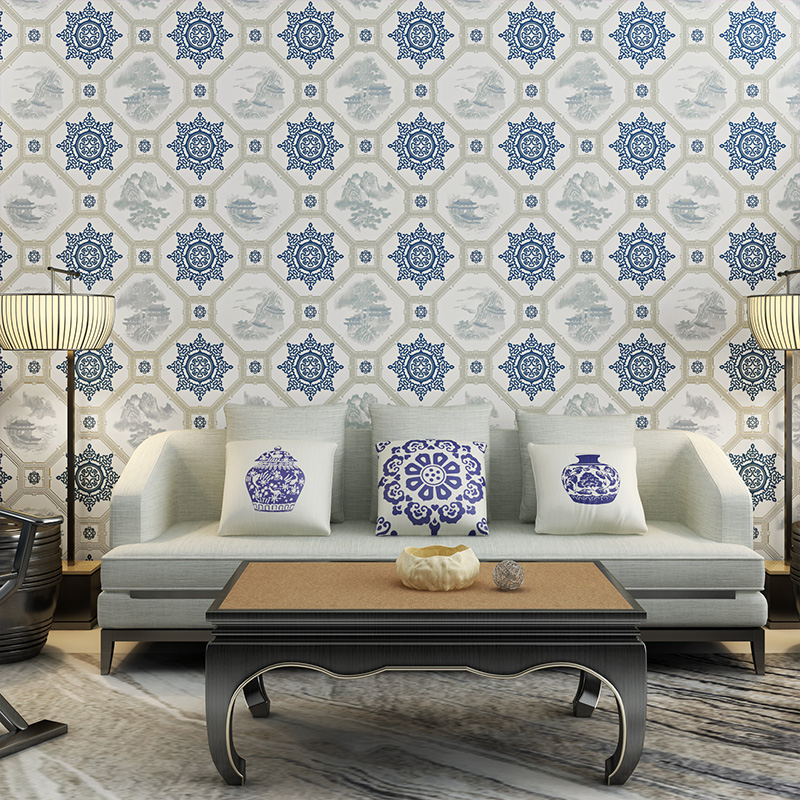 New Chinese classical pane wallpaper living room Tea Room Restaurant TV background wall paper vintage blue white porcelain blue