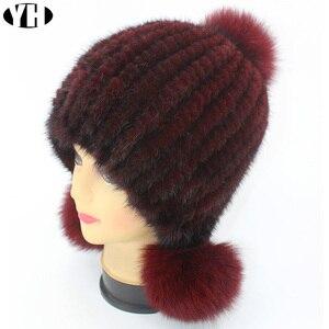 Image 5 - חדש אופנה נשים אמיתית מינק פרווה כובע טבעי מינק פרווה בימס פרווה כובעי אופנה ליידי אלסטי כובע חורף Skullies שועל פרווה פום poms