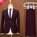 (Jacket + pants) traje A Cuadros establece el novio se casó delgado masculino de primavera vestido formal masculina traje piezas conjunto partido de baile pantalones chaqueta