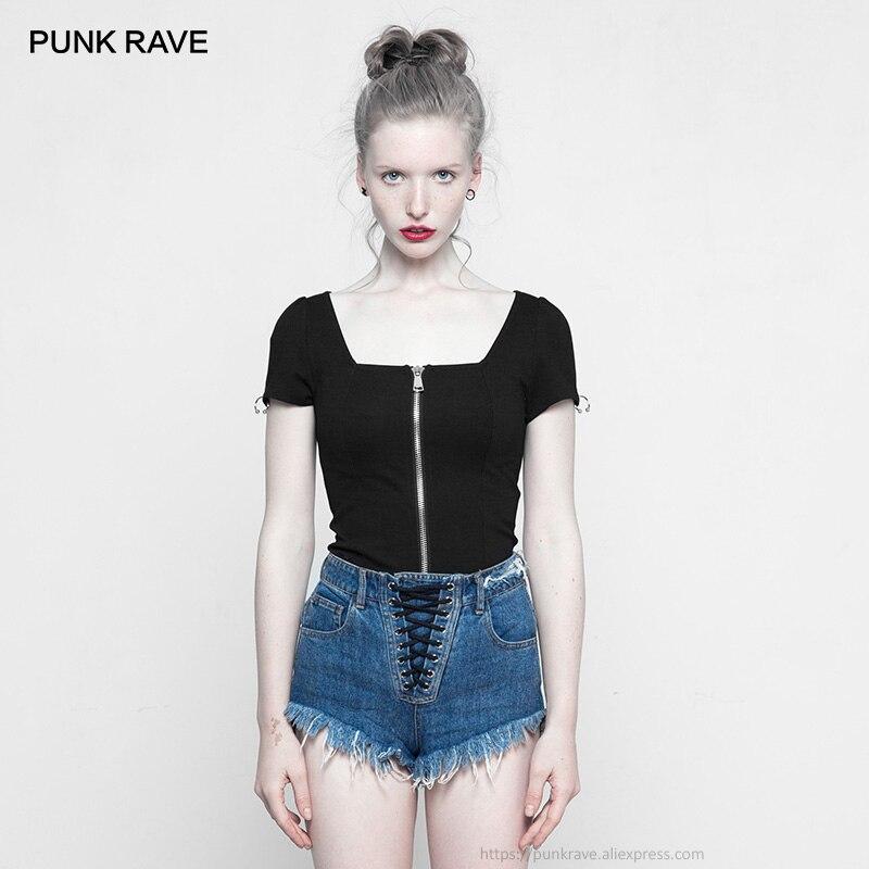 PUNK RAVE nouveau gothique noir femmes col carré à manches courtes t-shirt avec extrémité ouverte avant Zip Punk femmes personnalité hauts