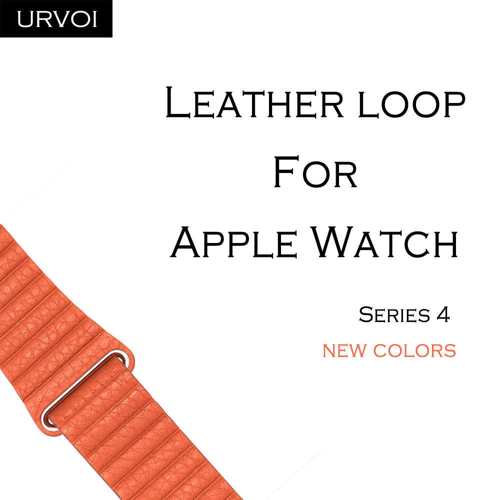 URVOI Leather loop for apple watch series 4 3 2 1 band for iwatch leather strap with magnet buckle  comfortable soft 2019 New