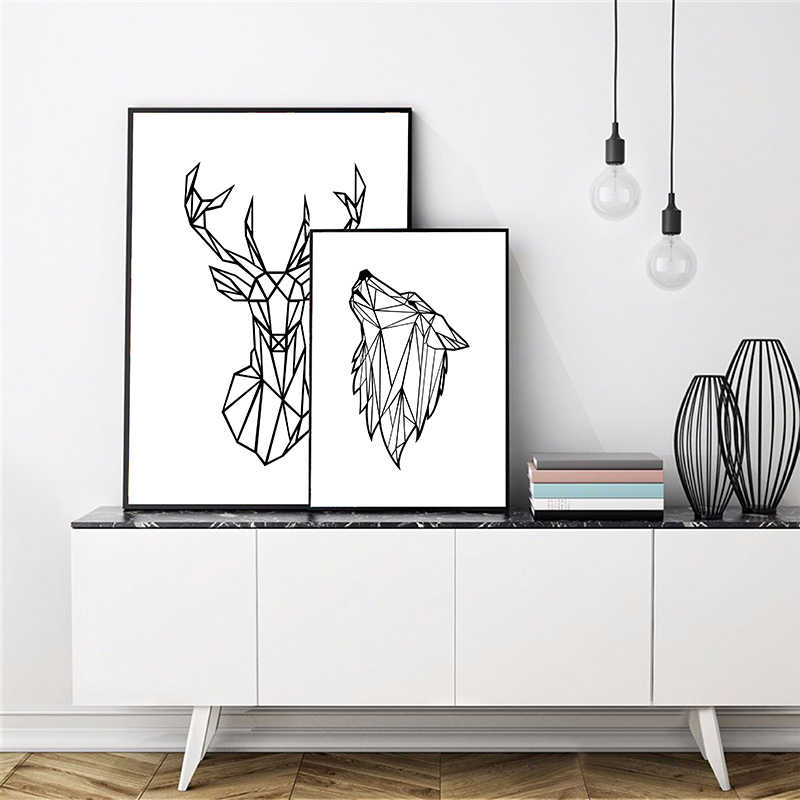 Geometric Animals Deer Head Wall Art Canvas Painting Picture , Minimalist Wolf Poster Wall Art Prints Home Modern Wall Decor