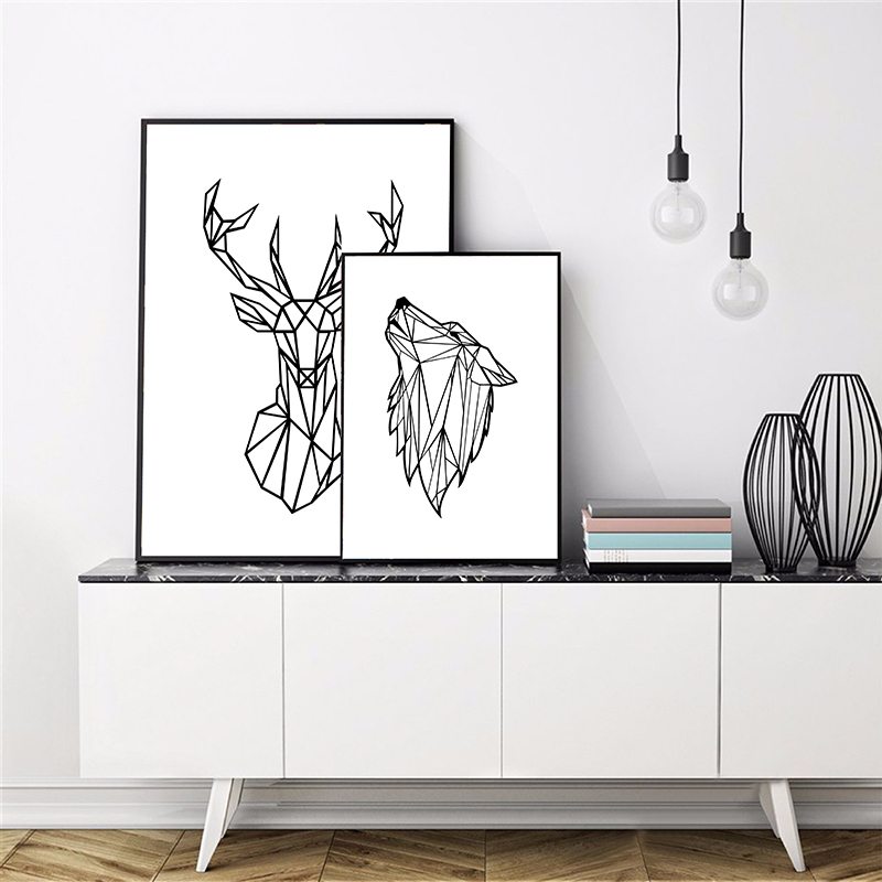 Geometric Animals Deer Head Wall Art Canvas Painting Picture , Minimalist Wolf Poster Wall Art Prints Home Modern Wall Decor