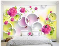 Papel de parede 3d para quarto Círculo vermelho flor rosa videira fundo da parede personalizado papel de parede para paredes