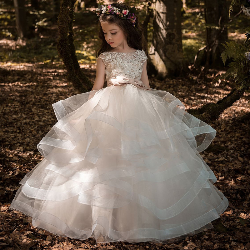 Retail High Quality Ankle-Length Flower Girls Dress With Ribbon Belt bow Mesh Tiered Girls Evening Prom Custom Size Long go