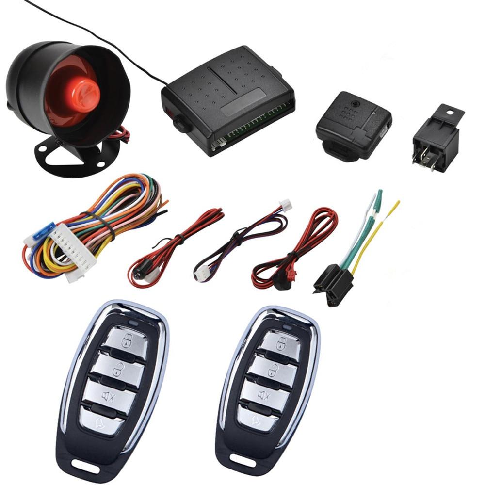 Alarme de voiture système d'entrée sans clé véhicule automatique Kit de verrouillage Central des portes avec entrée 2 capteur de télécommande sirène alarme automotivo