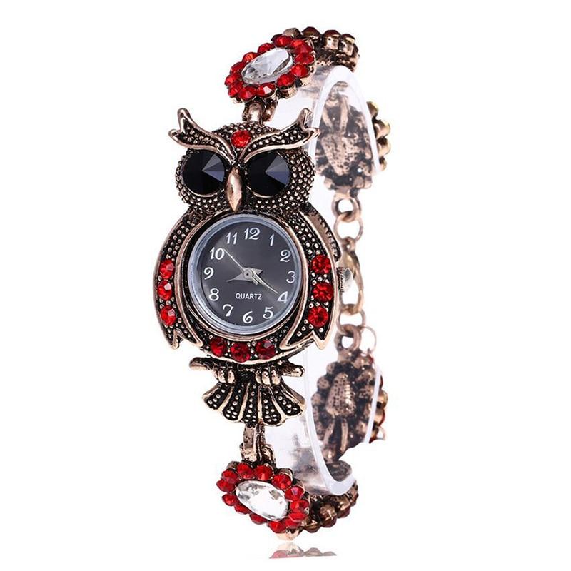 Vintage Women Watch  Rhinestone Owl Quartz Bracelet Watch Beautiful Wristwatch Girls Jewelry Gifts For Lady Mother  LL@17 Ожерелье