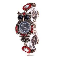 Vintage Frauen Uhr Strass Eule Quarz Armband Uhr Schöne Armbanduhr Mädchen Schmuck Geschenke Für Dame Mutter LL @ 17