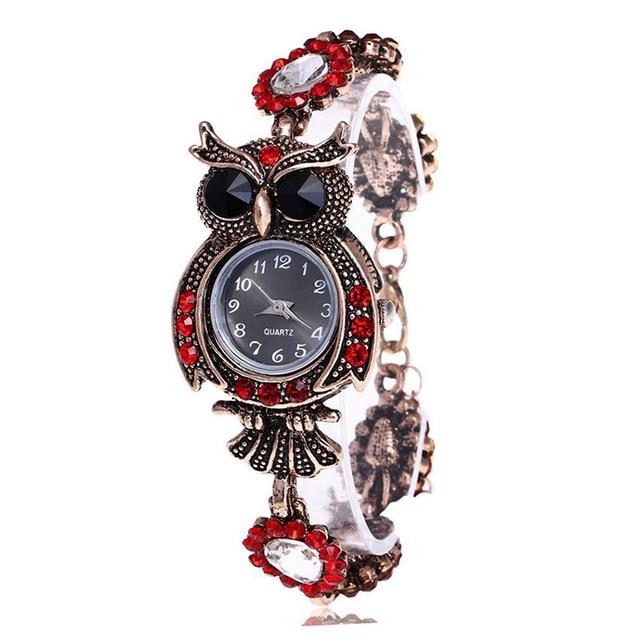 Vintage Women Watch Rhinestone Owl Quartz Bracelet Watch Beautiful Wristwatch Gi