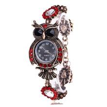 Vintage Women Watch Rhinestone Owl Quartz Bracelet Watch Bea