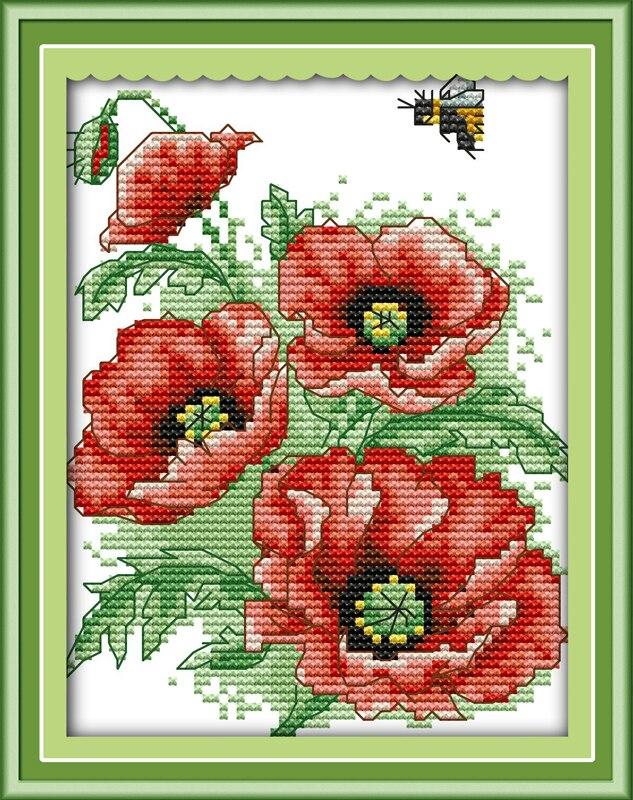 Вышивка цветы и пчелы