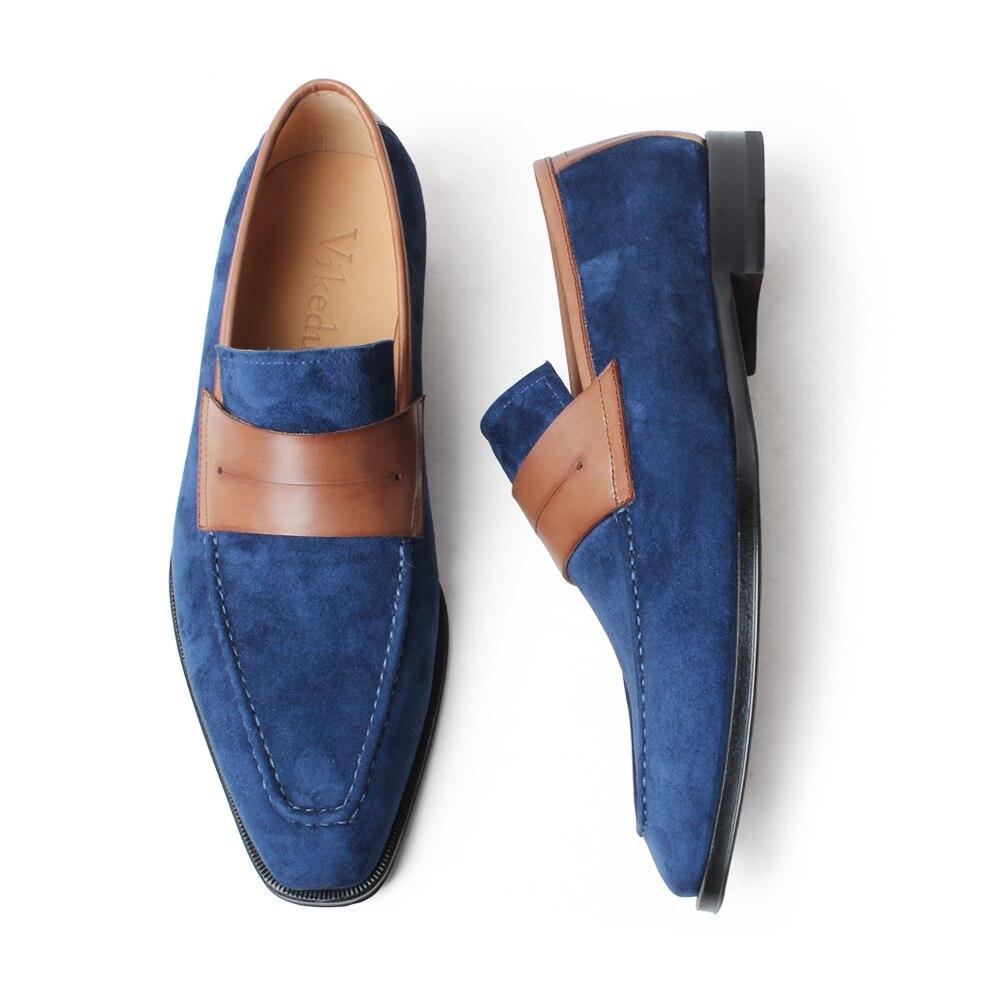 VIKEDUO Elegant Men's Loafer Shoes Genuine Leather Handmade Wedding Footwear Mans Casual Suede Shoes Sllip On Zapato de Hombre - 5