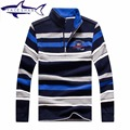 2016 Autumn Brand Men Straight Colorful Striped Business style Sweater Shark High Quality Cotton Mens Long Sleeve polo sweater