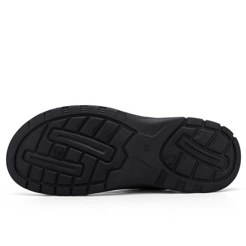 LINGGE ใหม่ 2019 ชายฤดูร้อนรองเท้าส้นสูงสไลด์ชายหนังผู้ชายรองเท้าแตะชายหาดสบายรองเท้า Plus ขนาด 38-48