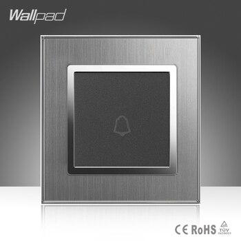 цена на Doorbell Switch Wallpad Hotel EU UK Standard Silver Satin Metal Frame Door Bell Panel Push Button Wall Switch