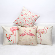Stylish Flamingo Floral Cushion Cover Cotton Linen Throw Pillow Case Birds Covers Sofa Bed Decor