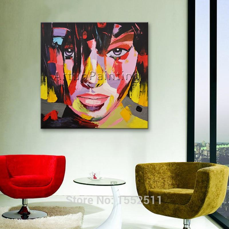 Portrét malování paletovým nožem Malování paletovým obličejem Olejomalba Impasto postava na plátně Ručně malovaná tvář Francoise Nielly Girl