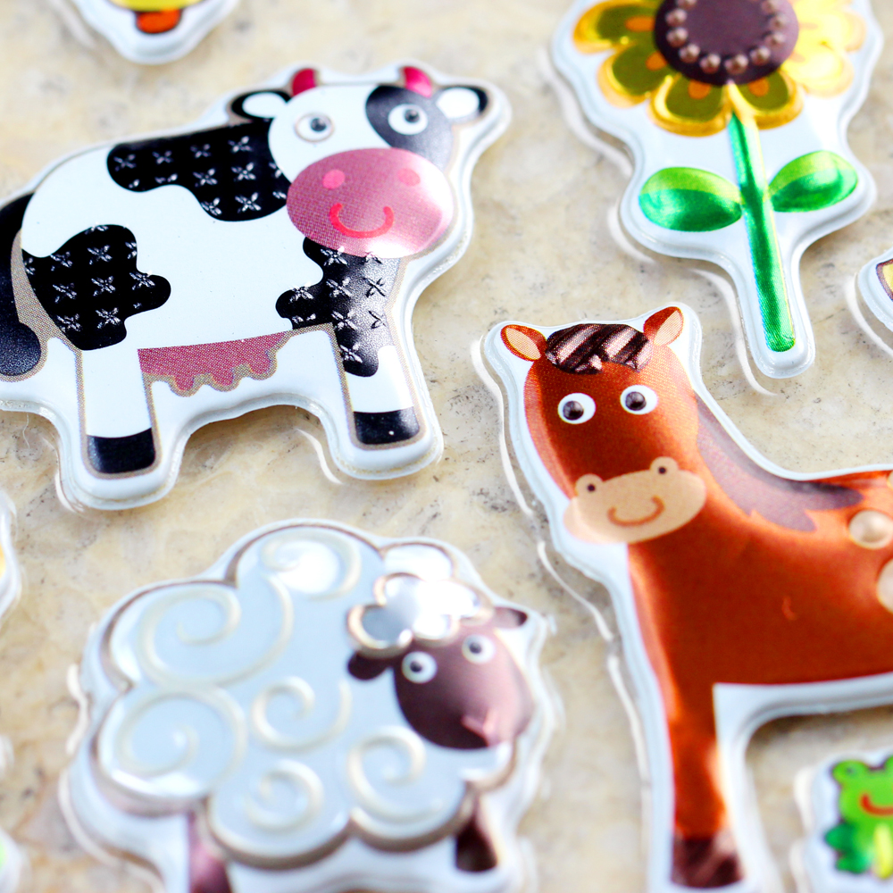 High Quality Emoji Reward Kid Farm Animals Cow Horse Sheep Chicken Dog Scrapbooking Shiny Sparkle Undulate Bubble Puffy Stickers image