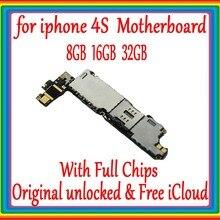 8 ГБ/16 ГБ/32 ГБ для iphone 4s оригинальная материнская плата с полными чипами, 100% полностью разблокирована для iphone 4s логическая плата, бесплатный iCloud