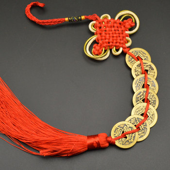 Chinese manual Knot Fengshui Lucky Charms Ancient I CHING Copper Coins Mascot Prosperity Protection Good Fortune Home Car Decor 7