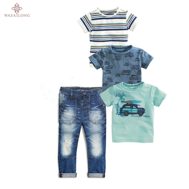 Wasailong new kids clothes summer boys clothes 4pcs Short sleeve T-shirt Boy car four single T jeans suit