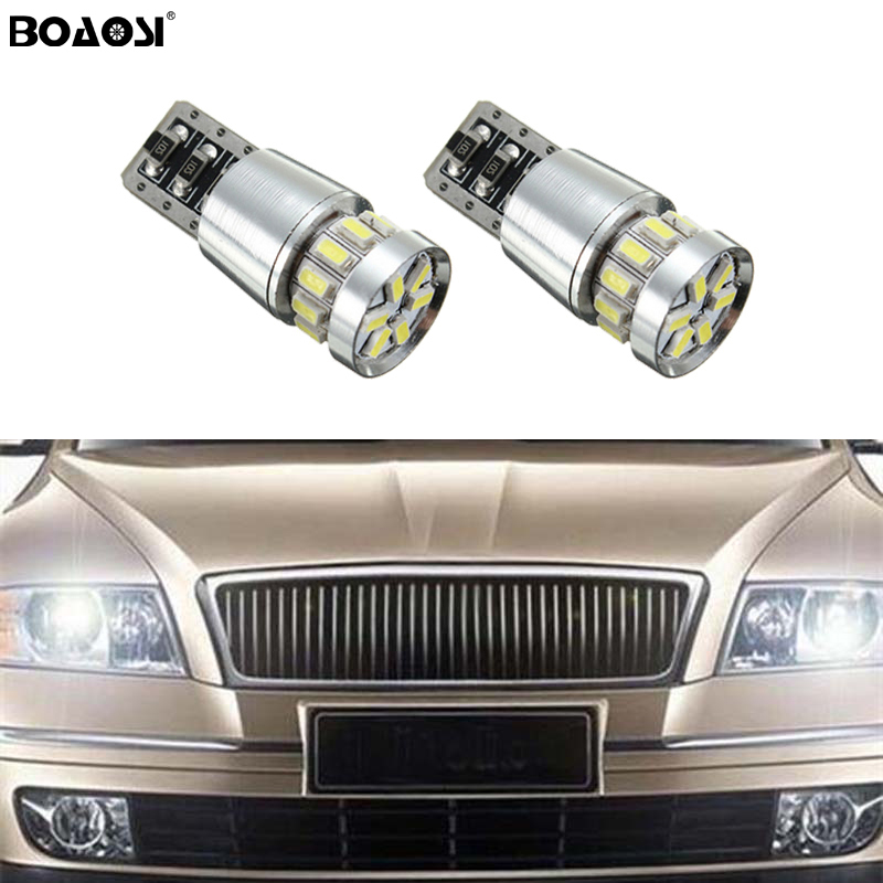 BOAOSI 2x T10 W5W LED Clearance Light Marker Lamp Bulb Canbus Error Free For Skoda Superb Octavia A7 A5 2 Fabia Rapid Yeti