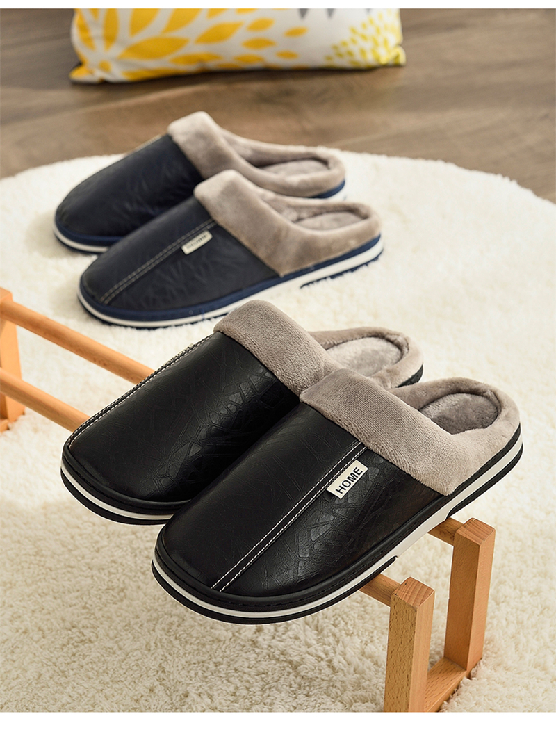 HTB18tqLavfsK1RjSszgq6yXzpXaW - ASIFN Men's slippers Winter slippers Non slip Indoor Shoes men leather Big size House shoe Waterproof Warm Memory Foam Slipper