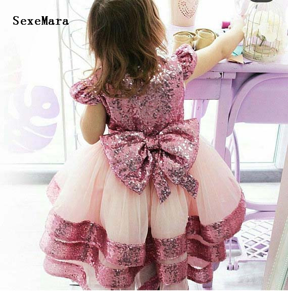 Glitter pink bling bling sequins baby girl first birthday party dresses kids pageant performing dancing dress celebration gownGlitter pink bling bling sequins baby girl first birthday party dresses kids pageant performing dancing dress celebration gown