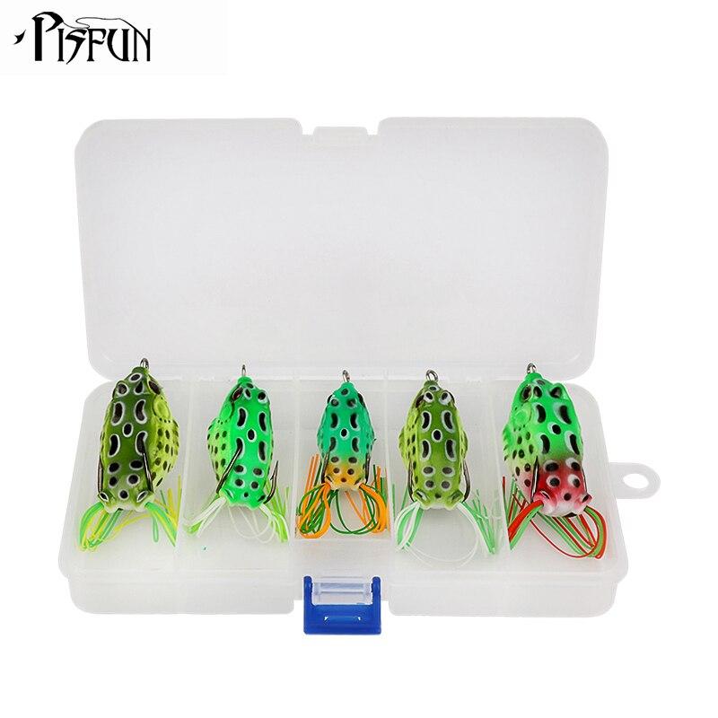 Pisfun 5 teile/los angeln frosch weichen fischköder kit top wasser künstliche köder schwimm mit freies angeln box
