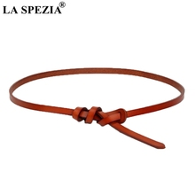 LA SPEZIA Knot Belt Women Thin Genuine Leather Ladies Belts For Dresses Female Real Cowhide Fashion Camel
