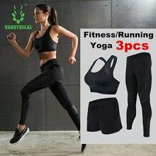 Vansydical 3pcs Gym Clothing Sport Suites (Bra+Leggings+Shorts) Women's Tights For Fitness Training Running Yoga Sets