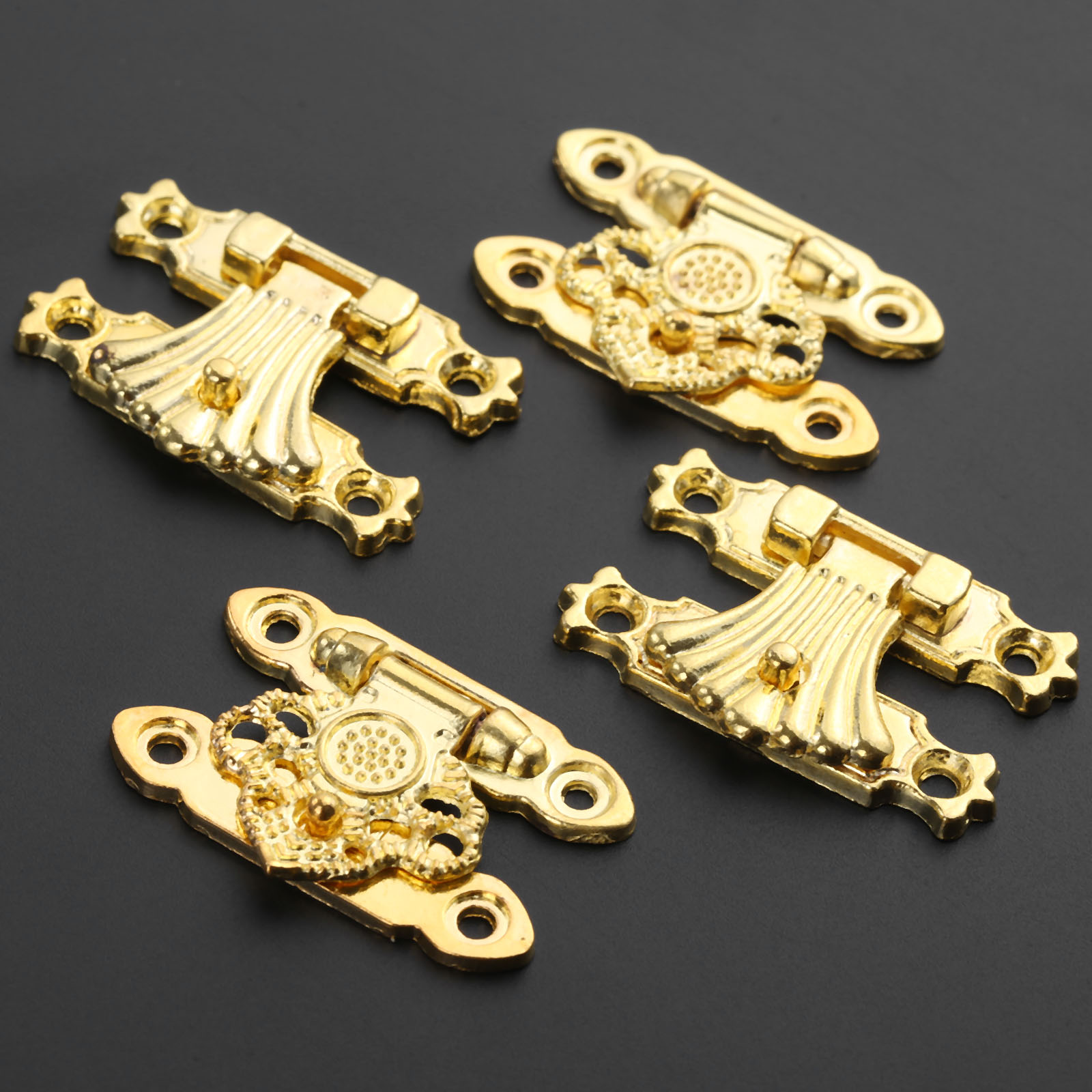 37x24mm Box Latch Clasps Antique Alloy Jewelry Box Padlock Hasp Locked Bronze Flower Wooden Wine Gift Box Handbag Parts