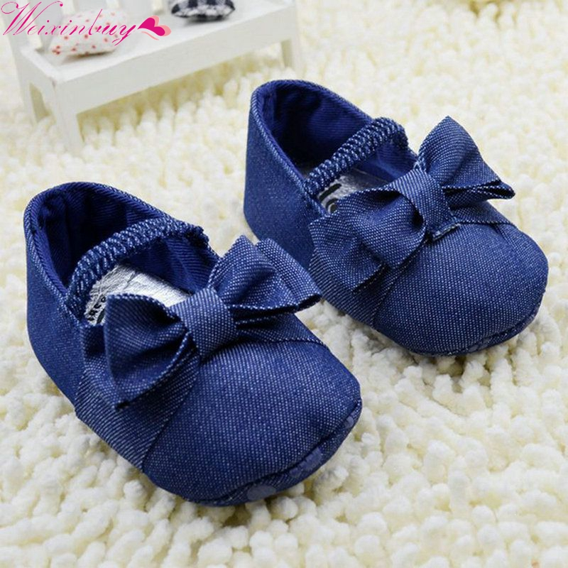Retail  Toddler Solid Bowknot Crib Shoes Baby Shoes Girl Soft Sole Demin Prewalker