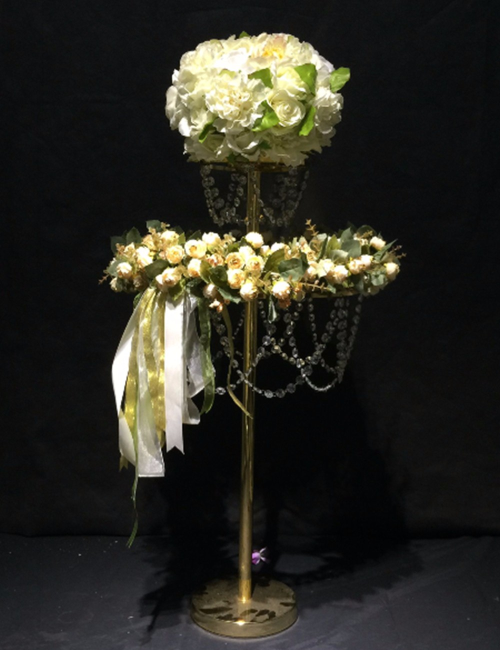 Candle Holders 80cm Tall Crystal Table Centerpiece Gold Flower Stand Wedding Props Elegant In Style