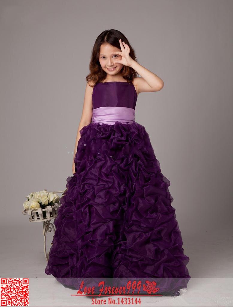 Floor length Purple Long Ball Gown Flower Girls Dresses ...