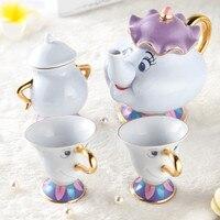 Лидер продаж Красавица и Чудовище Чай комплект Миссис Поттс Чай горшок чашка чип сахарница, чаша чашки набор Кофе чайник прекрасный подарок...