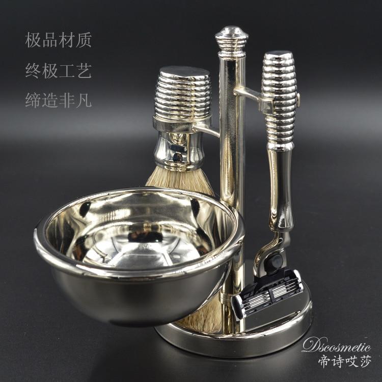 /silvertip badger hair shaving brush shave stand and Mach 3 razor metal bowl for men