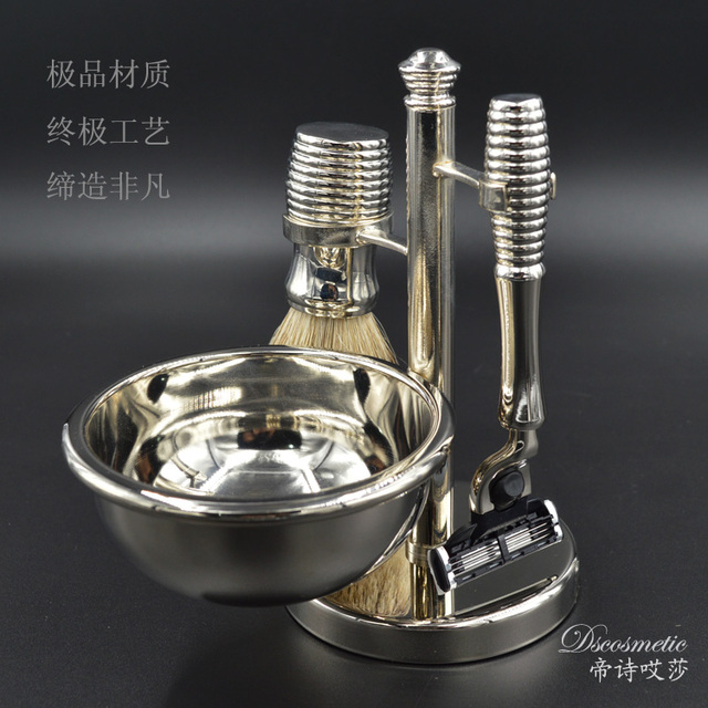 Silvertip Badger Hair Shaving Brush&Metal holder& Razor& Shaving Bowl metal chrome alloy Shaving Set