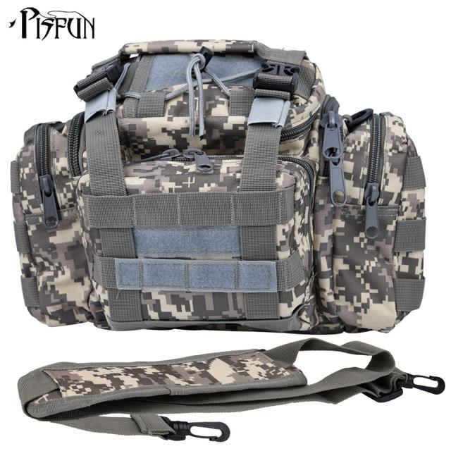 Best Price Pisfun Canvas Fishing Bag Multifunctional Men Shoulder & Waist & Hand Bag For Fishing Cycling Hiking Sport Climbing 7 Color